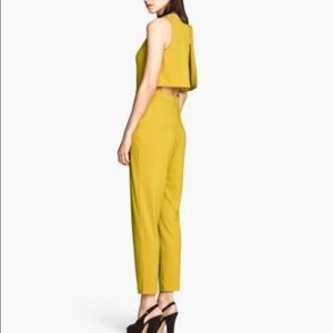 Chartreuse open backed jumpsuit